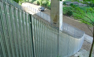 Steel Palisade Fencing on Slope